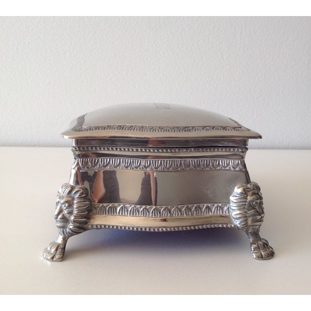 Silver Plated Lion-Footed Engraved Keepsake Box - Image 3 of 11