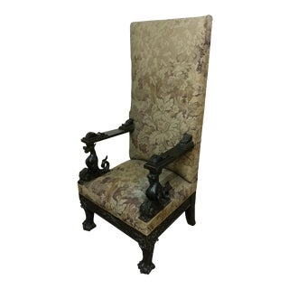 Dragon Carved Tapestry Side Chair