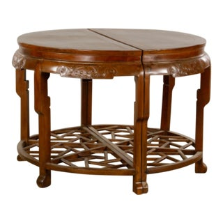 Pair 19th Century Chinese Carved Demilune Tables
