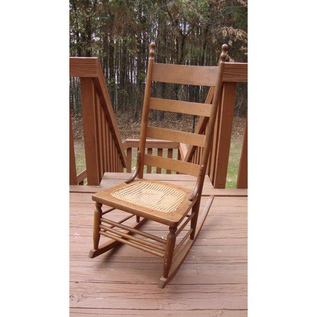 Antique Early American Ladderback Rocker Chair  Chairish