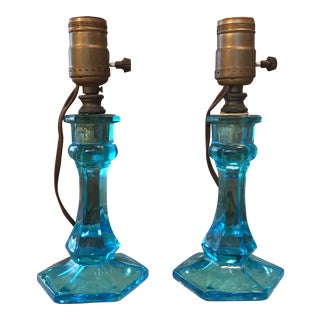 Blue Art Glass Table Lamps - A Pair