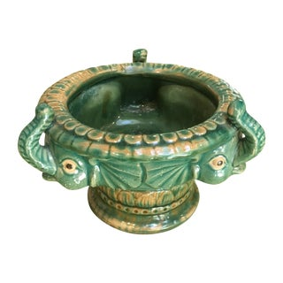 Majolica Three Elephant Bowl