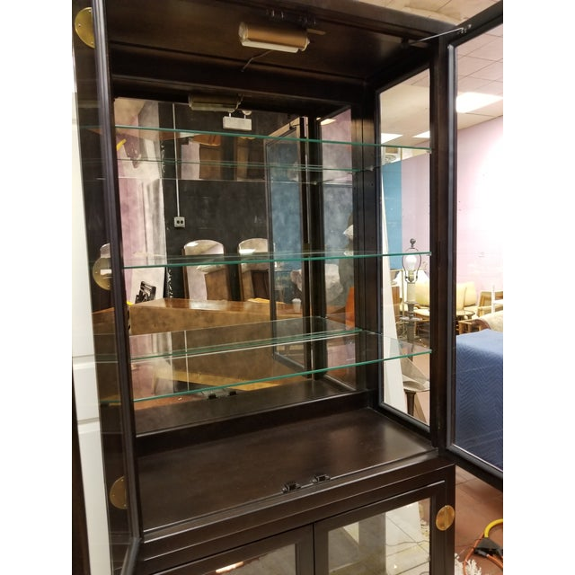 Drexel Asian Modern Glass Curio Display Cabinets - 3 Pieces - Image 6 of 7