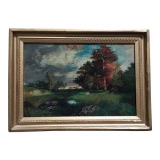Antique 19th Century Landscape W/ Cows Oil Painting