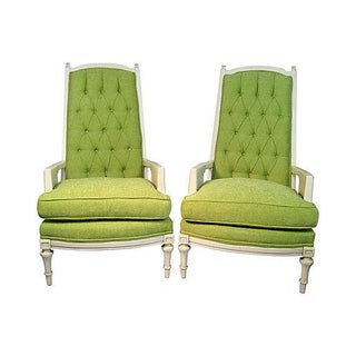 Broyhill Tufted Chairs in Green Chenille - A Pair