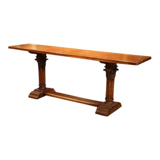 Louis XIV, French Walnut Console Table With Hand-Carved Legs and Stretcher