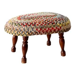 Vintage Ottoman with Rag Rug Upholstery