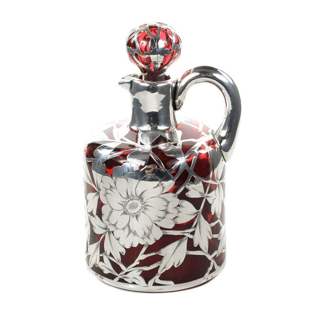 Antique Art Nouveau Silver Overlay Ruby Decanter - Image 2 of 9