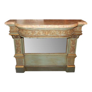 French Painted Louis XVI Marble Top Console