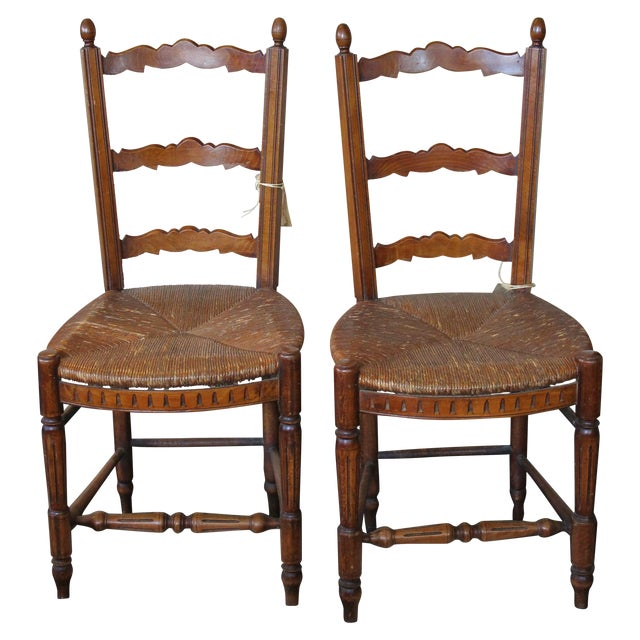 Antique Petite French Dining Chairs - A Pair - Image 1 of 4