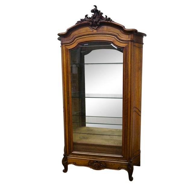 Antique 19th Century Louis XV Walnut Curio Cabinet - Image 1 of 10