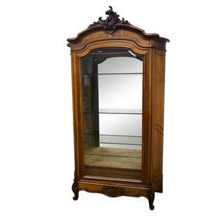 Antique 19th Century Louis XV Walnut Curio Cabinet