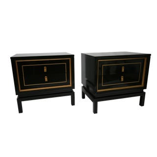 American of Martinsville Lacquered Black & Gold Night Stands - A Pair