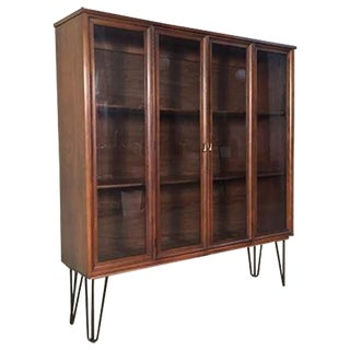 Mid-Century Modern Hairpin Leg Display Cabinet