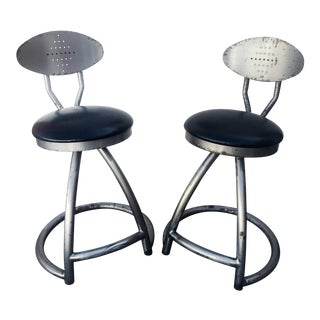 Vintage Swiveling Industrial Steampunk Stools - A Pair