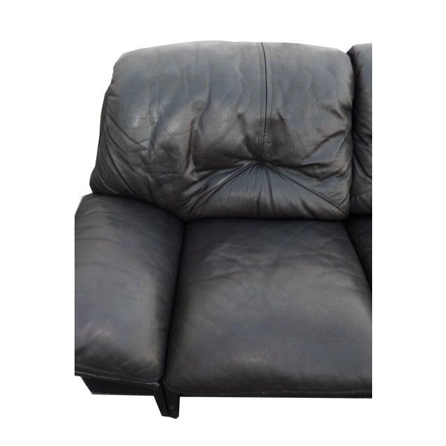 Mid-Century Minimalist Black Leather Italian Sofa - Image 5 of 9