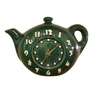 Mid-Century Green Teapot Clock