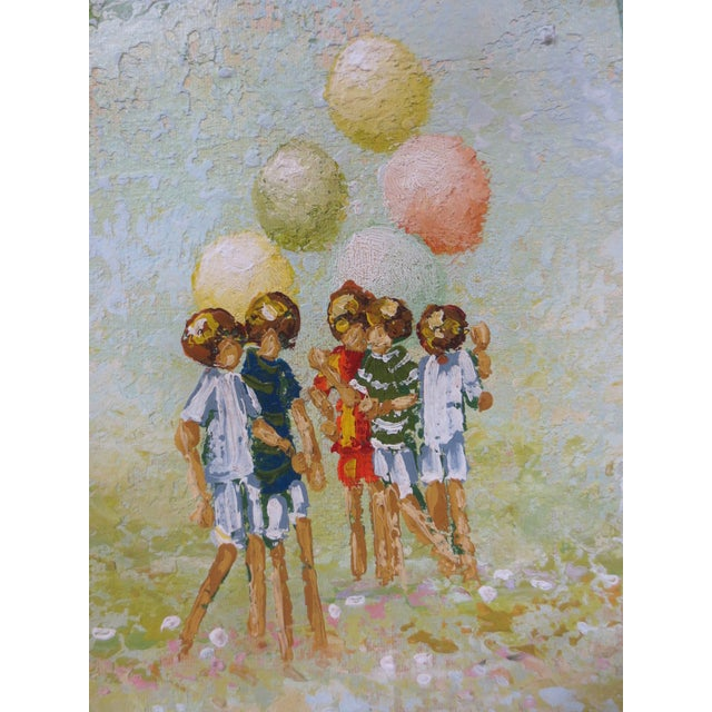 Scott Children With Balloons Oil Painting - Image 3 of 6