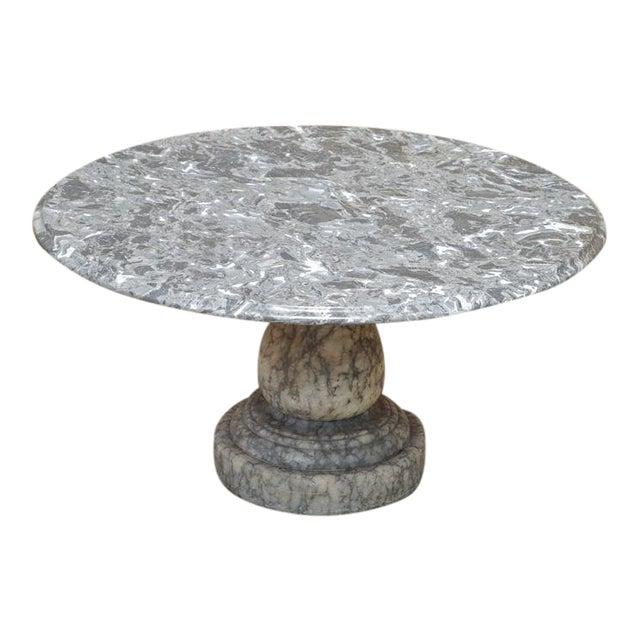 Vintage Decorator Hollywood Regency Italian Grey Marble Round Coffee Table - Image 1 of 8