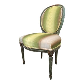 Antique French Painted Side Chair with Ombre Velvet