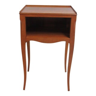 Antique Cherry French Carved Cubby Lamp End Table