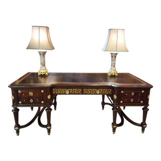 Antique French Louis XVI Style Mahogany Bureau Plat with Ormolu Fittings circa 1890