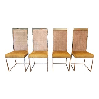 Milo Baughman High Backed Chrome Cane Dining Chairs - Set of 4