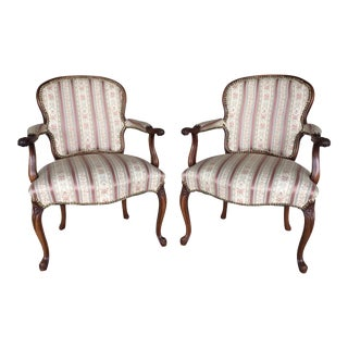 French Provincial Louis XV Bergere Chairs - A Pair