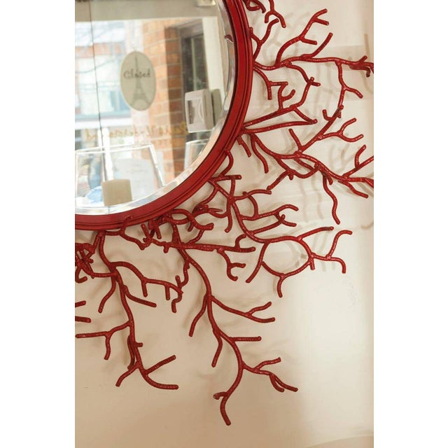 "Vintage Spanish Painted Metal ""Coral"" Mirror - Image 2 of 3"