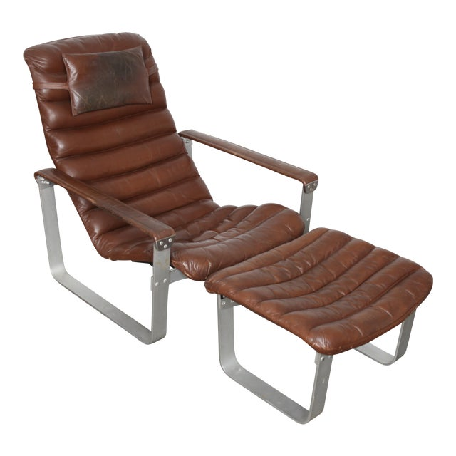 Asko Finland Mid-Century Leather Lounge and Ottoman - Image 1 of 5