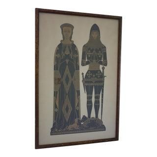 1960s Knight & Maiden Art Print in Original Frame