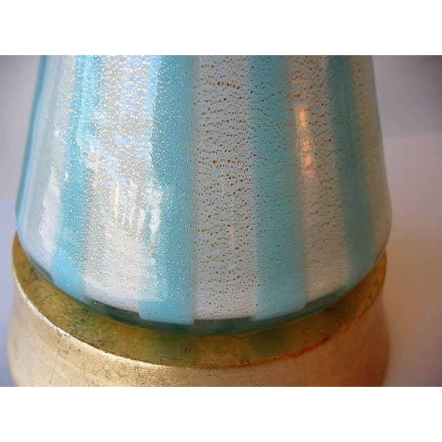 Italian Murano Blue, White and Gold Mid-Century Modern Murano Glass Table Lamp MCM Barbini Venetian Italy - Image 9 of 10
