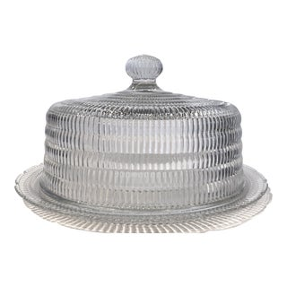 Vintage Modern Glass Cake Plate and Dome