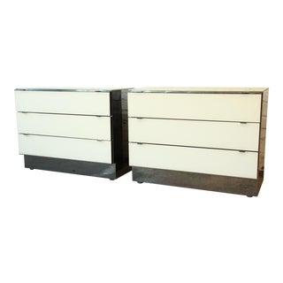 Guy Barker for Ello Chrome & White Dressers - a Pair