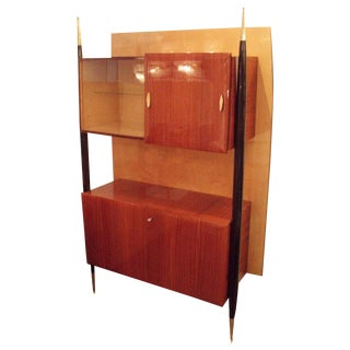 Modernist Two Tiered Wall Cabinet in Sycamore and Mahogany, Italy circa 1952
