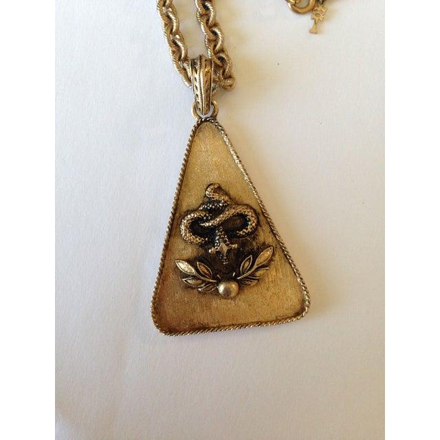 Image of Trifari Vintage 70s Serpent Pendant Necklace