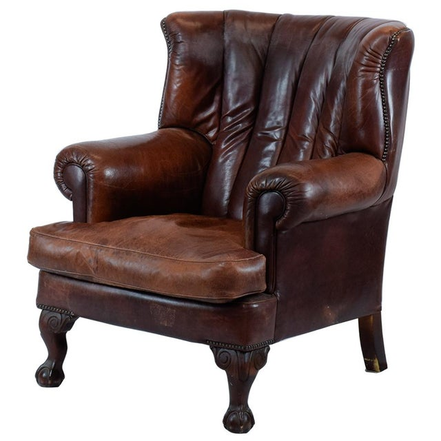 Vintage Leather Wing Back Chair - Image 1 of 4