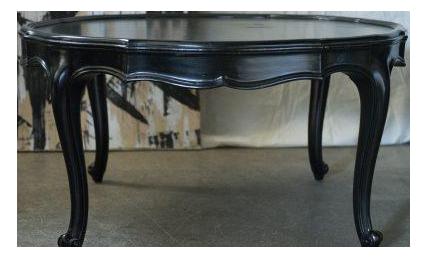 Vintage Louis XV French Black Round Coffee Table