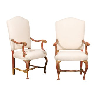 Pair of Italian Late 19th Century Red and Gold Painted Armchairs