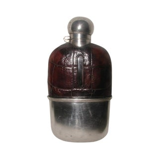 19th Century England Alligator Silver Flask