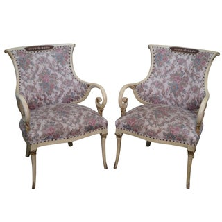 Hollywood Regency Paint Frame Armchairs - A Pair