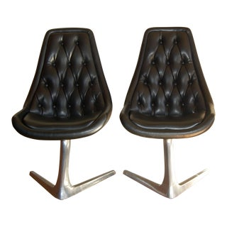 Black Vinyl Chromcraft Sculpta Chairs - A Pair