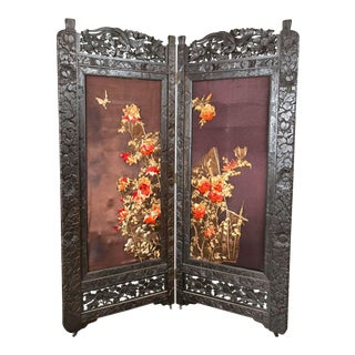 Chinoiserie-Style Embroidered Folding Screen - A Pair