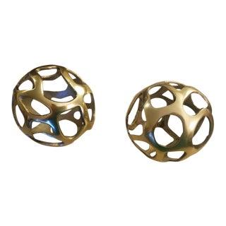 Decorative Brass Globes - A Pair
