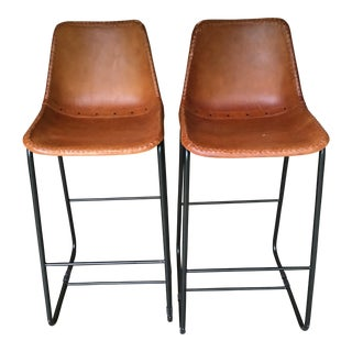 Cb2 Slope Leather Bar Stools - a Pair