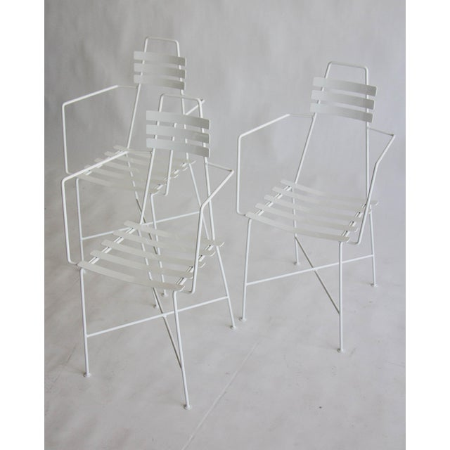 Mid-Century Slatted Wrought Iron Chair - Image 6 of 7