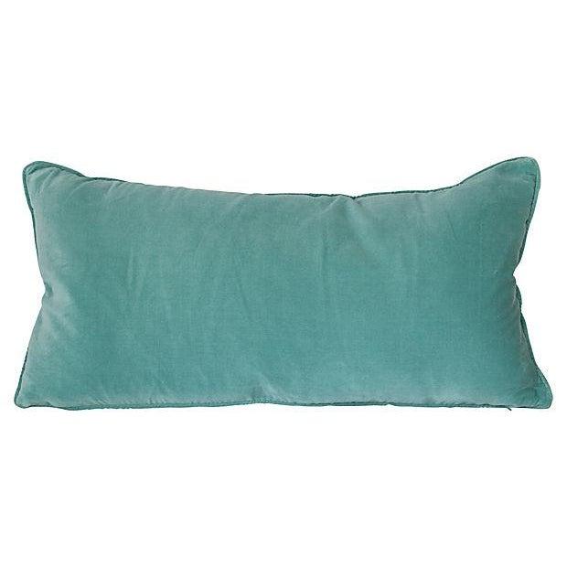 Image of Seafoam Blue Velvet Lumbar Pillow