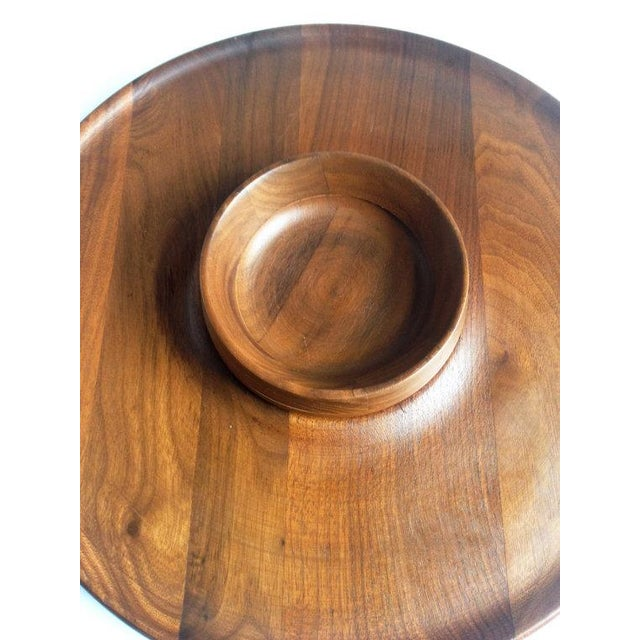 Mid-Century Walnut Lazy Susan Dip Tray - Image 5 of 6