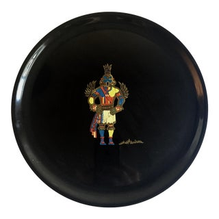 Couroc of Monterey Black Lacquered Kachina Plate