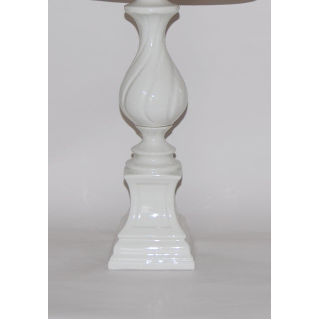 Column Lamps with Ikat Shades- A Pair - Image 6 of 6